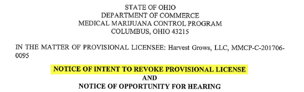 Ohio License Status >> Harvest Health Ohio Threatens To Revoke Licenses And For