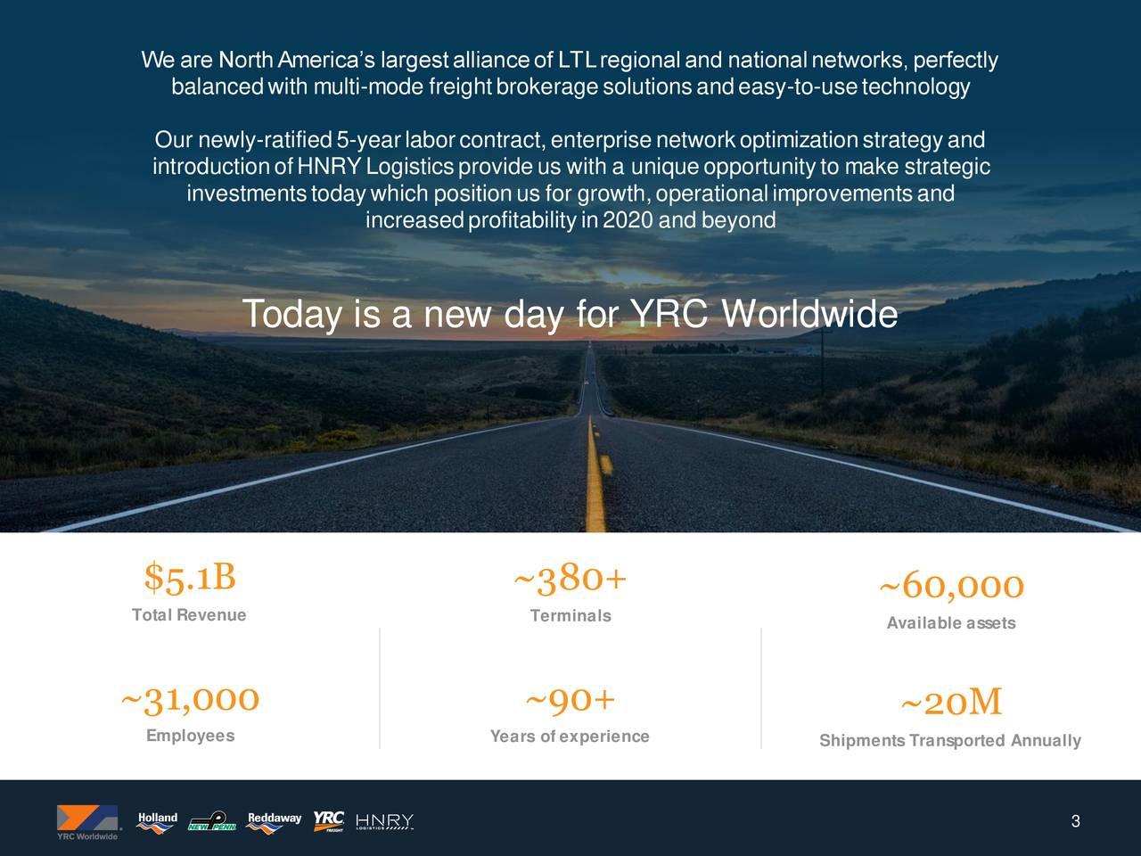 YRC Worldwide Inc : New Labor Agreement Synergies, Network