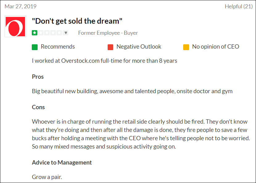 Overstock: Negative Reality Lurks Just Around The Corner
