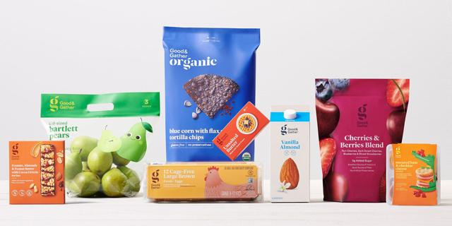 A variety of new Good & Gather products, from pears and eggs to almond milk and chips