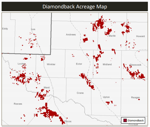 Diamondback Resources acreage map
