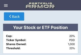 Optimal hedge on PDD via Portfolio Armor.