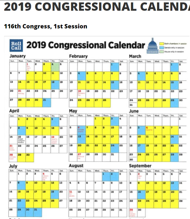 USA congressional calendar