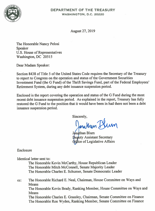 Secretary of the treasury letter to Congress regarding Trust Funds whole again