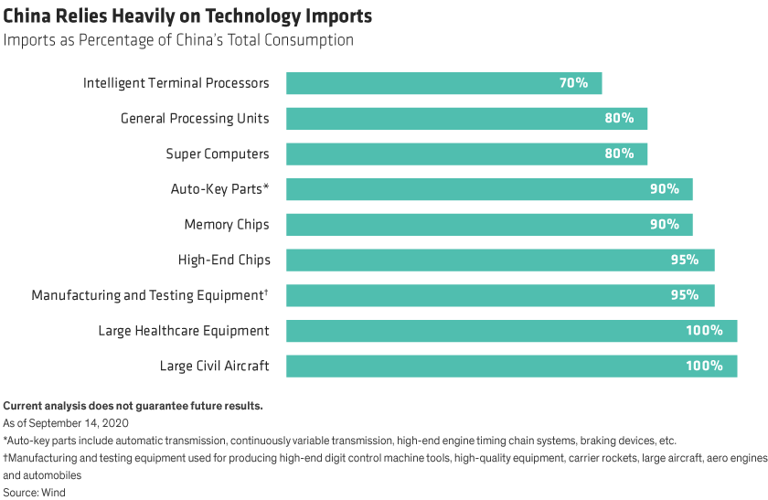 Imports for nine kinds of technology as a share of total consumption.