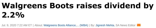 walgreens dividend increase