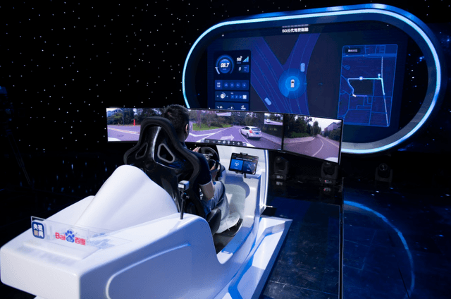 A remote human operator demonstrates the 5G Remote Driving Service, which allows instantaneous human intervention in case of extraordinary emergencies.