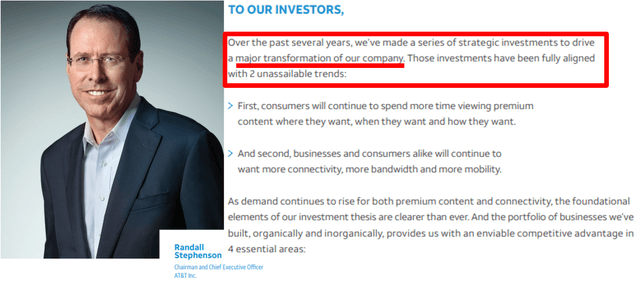 AT&T CEO message – Source: AT&T 2019 Annual Report