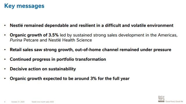 Nestle key business messages - Source: Nestle Q3 2020 Investor Presentation