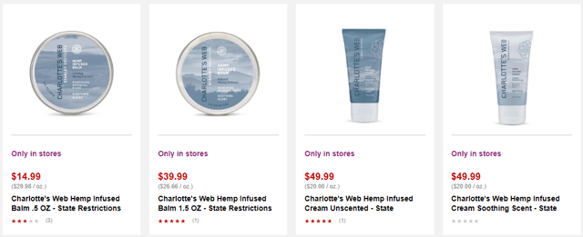 CVS sells Charlottes Web products, but only topical products like skin balms.