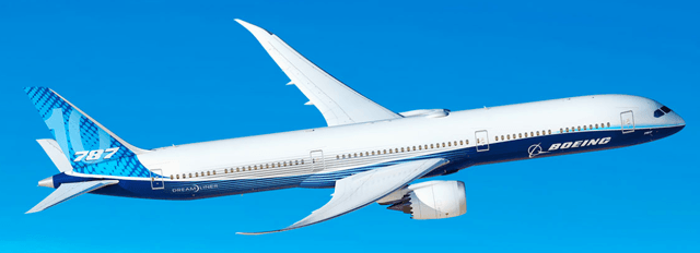 A large passenger jet flying through a blue sky Description automatically generated