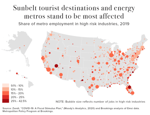 Sunbelt Tourist Destinations and Energy Metros Stand to be Most Affected