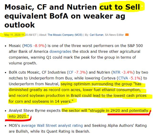 Nutrien stock downgrade