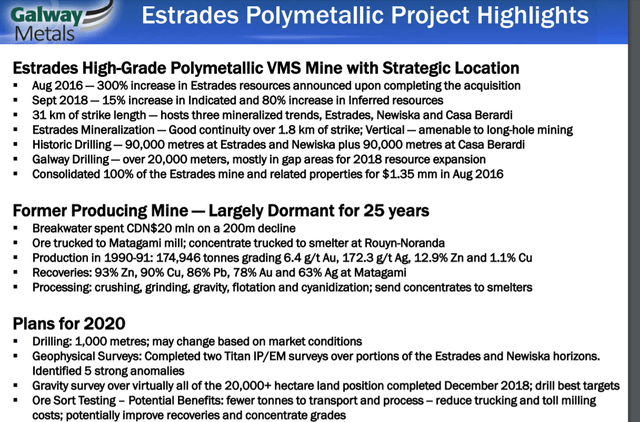 Galway Metals Estrades Gold Mine Project Highlights
