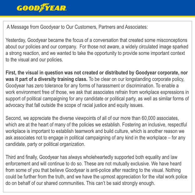 Goodyear clears up misconception underpinning Trump boycott call ...