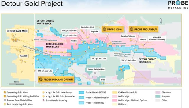 Probe Metals Detour Gold Project Map