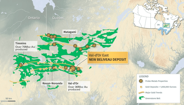 Probe Metals Geographic Map of Gold Projects