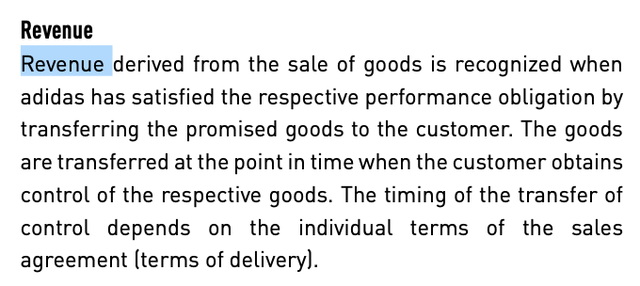 Adidas revenue recognition – Source: Annual report