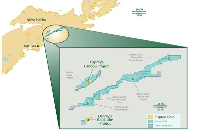 Osprey Gold Caribou Project Nova Scotia Map
