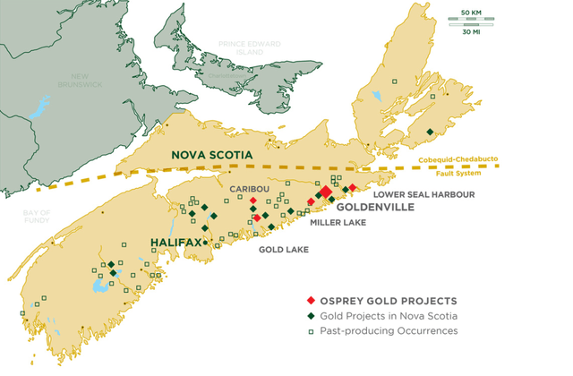Map of Nova Scotia Gold Mine Locations
