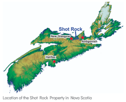 Northern Shield Shot Rock Nova Scotia Map