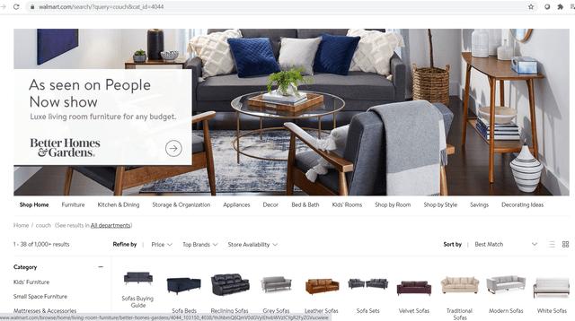 Walmart e-commerce site