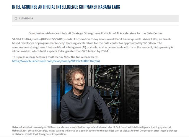 Habana labs acquisition - Source: Intel