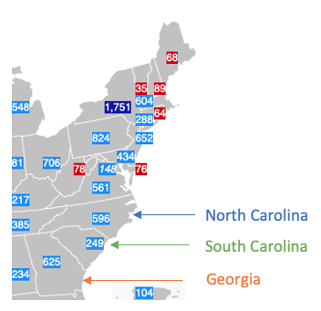 GDP by State: Georgia, North and South Carolina