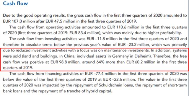 Cashflow information – Source: Q3 2020 report
