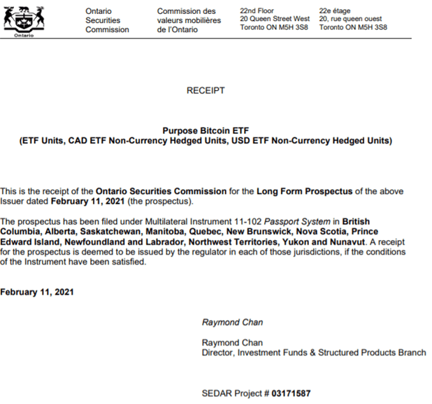 Bitcoins first approved ETF by Canadian Securities Regulator