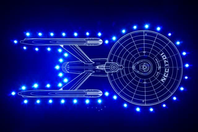 "Star Trek ""Shields Up"" black via Laser Fire Creations."