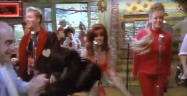 Still from the video for the B-52's Love Shack