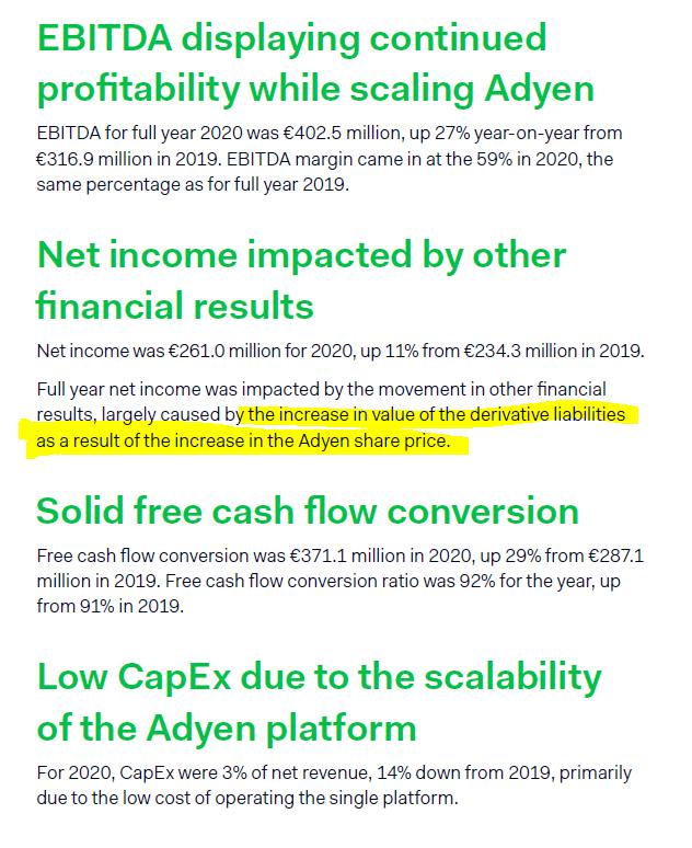 Adyen financials – Source: 2020 Annual Report
