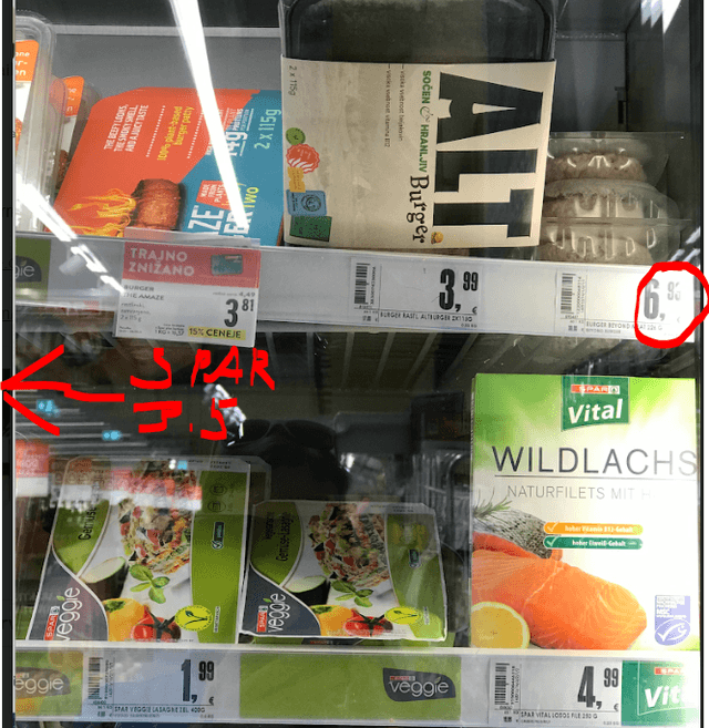 Beyond Meat shelf example – right upper corner – Source: Author