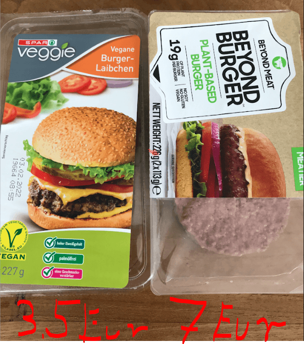 Beyond meat vs. private label, one next to the other in shop