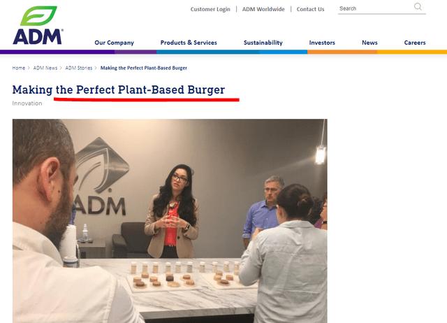 Plant-based burgers – Source: ADM