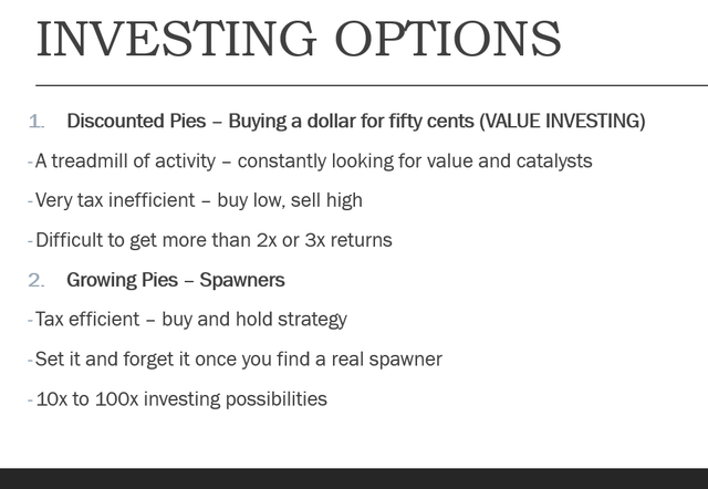 Investing options: Spawners investing & Value investing
