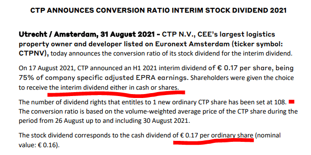CTPNV dividend policy