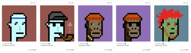 Top 5 Cryptopunks NFTs sold for an average of $8M on OpenSea