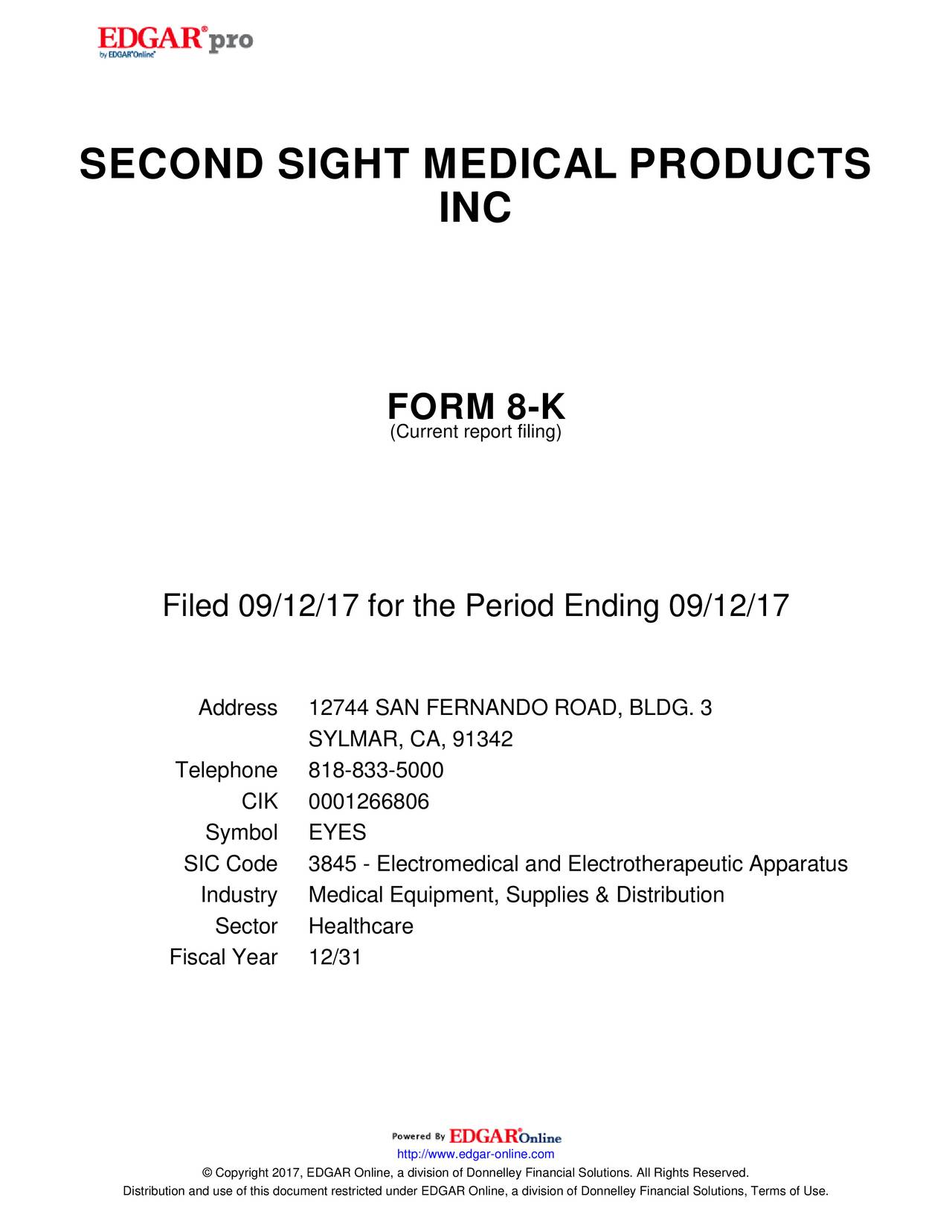 Second sight medical products eyes investor presentation k 8 mro ilif tr oper t nerr uc 71 2 90 biocorpaavc Choice Image