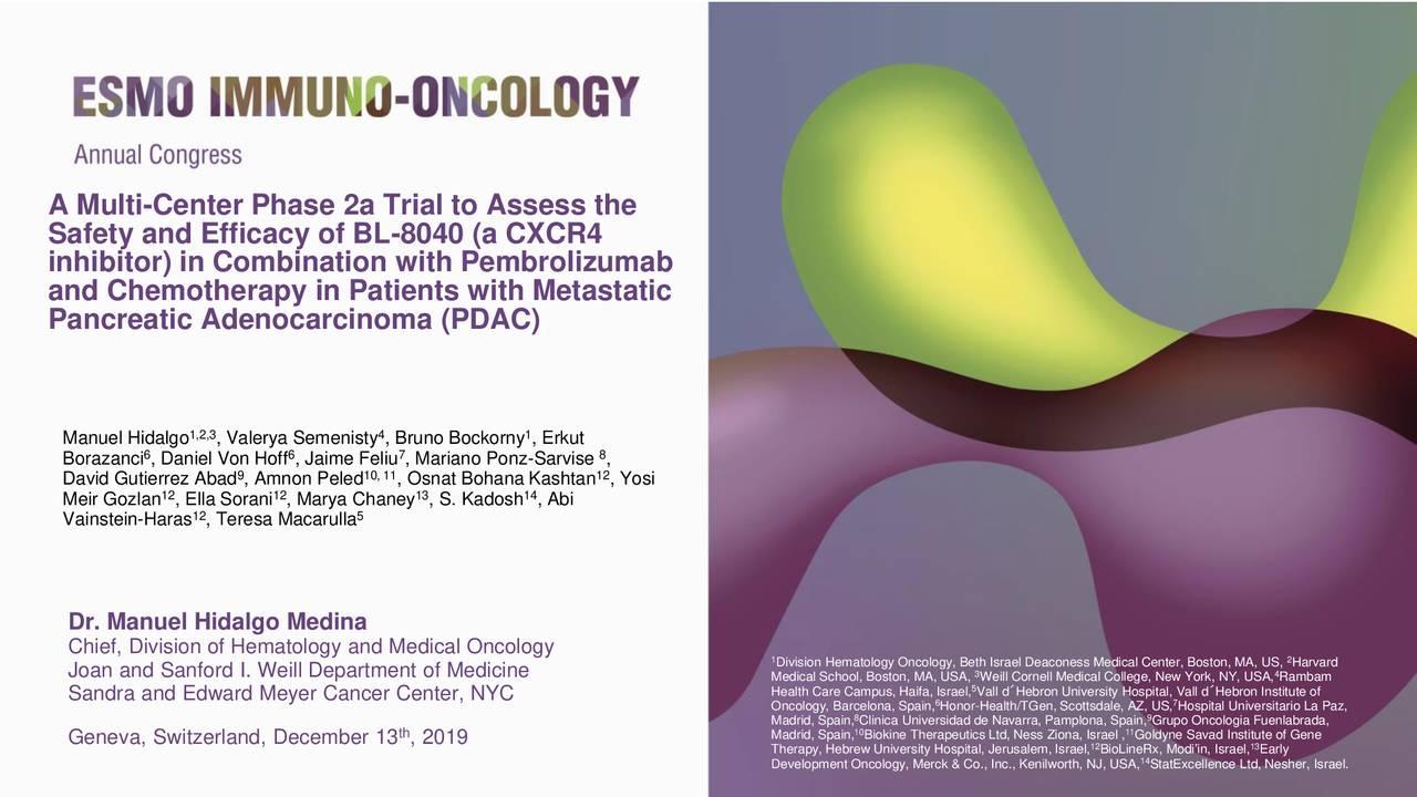 BioLineRx (BLRX) Presents At ESMO Immuno-Oncology Congress 2019 - Slideshow - BioLineRx Ltd. (NASDAQ:BLRX) | Seeking Alpha