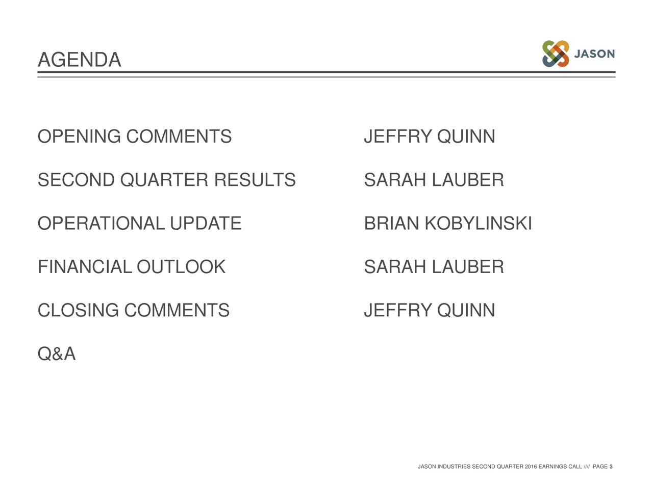 OPENING COMMENTS JEFFRY QUINN SECOND QUARTER RESULTS SARAH LAUBER OPERATIONAL UPDATE BRIAN KOBYLINSKI FINANCIAL OUTLOOK SARAH LAUBER CLOSING COMMENTS JEFFRY QUINN Q&A JASON INDUSTRIES SECOND QUARTER 2016 EARNINGS CALL //// PAGE 3