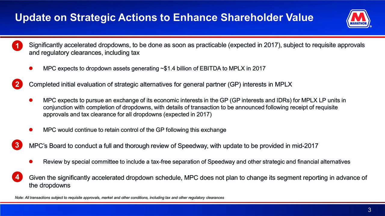1) Significantly accelerated dropdowns, to be done as soon as practicable (expected in 2017), subject to requisite approvals 1 and regulatory clearances, including tax MPC expects to dropdown assets generating ~$1.4 billion of EBITDA to MPLXin 2017 2) Completed initialevaluation of strategic alternatives for general partner (GP) interests in MPLX MPC expects to pursue an exchange of its economic interests in the GP (GP interests and IDRsunits inLX LP conjunction with completion of dropdowns, with details of transaction to be announced following receipt of requisite approvals and tax clearance for all dropdowns (expected in 2017) MPC would continue to retain control of the GP following thisexchange 3) MPCs Board to conduct a full and thoroughreview of Speedway, with update to be provided-017mid2 Review by special committee to include-free separation of Speedway and other strategic and financial alternatives 4) Given the significantly accelerated dropdown schedule, MPC does not plan to change its segment reporting in advance of the dropdowns Note: All transactions subject to requisite approvals, market and other conditions, including tax and other regulatory clearances 3