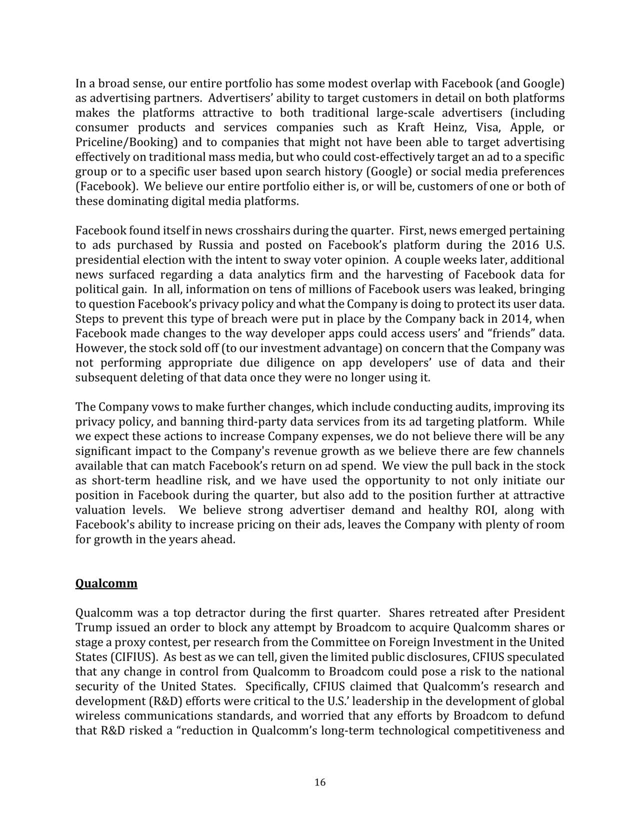 Wedgewood Partners Q1 2018 Client Letter