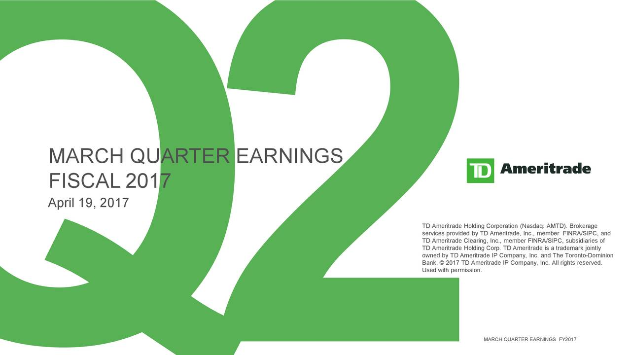 Td Ameritrade Holding Corporation 2017 Q4 Results Earnings Call