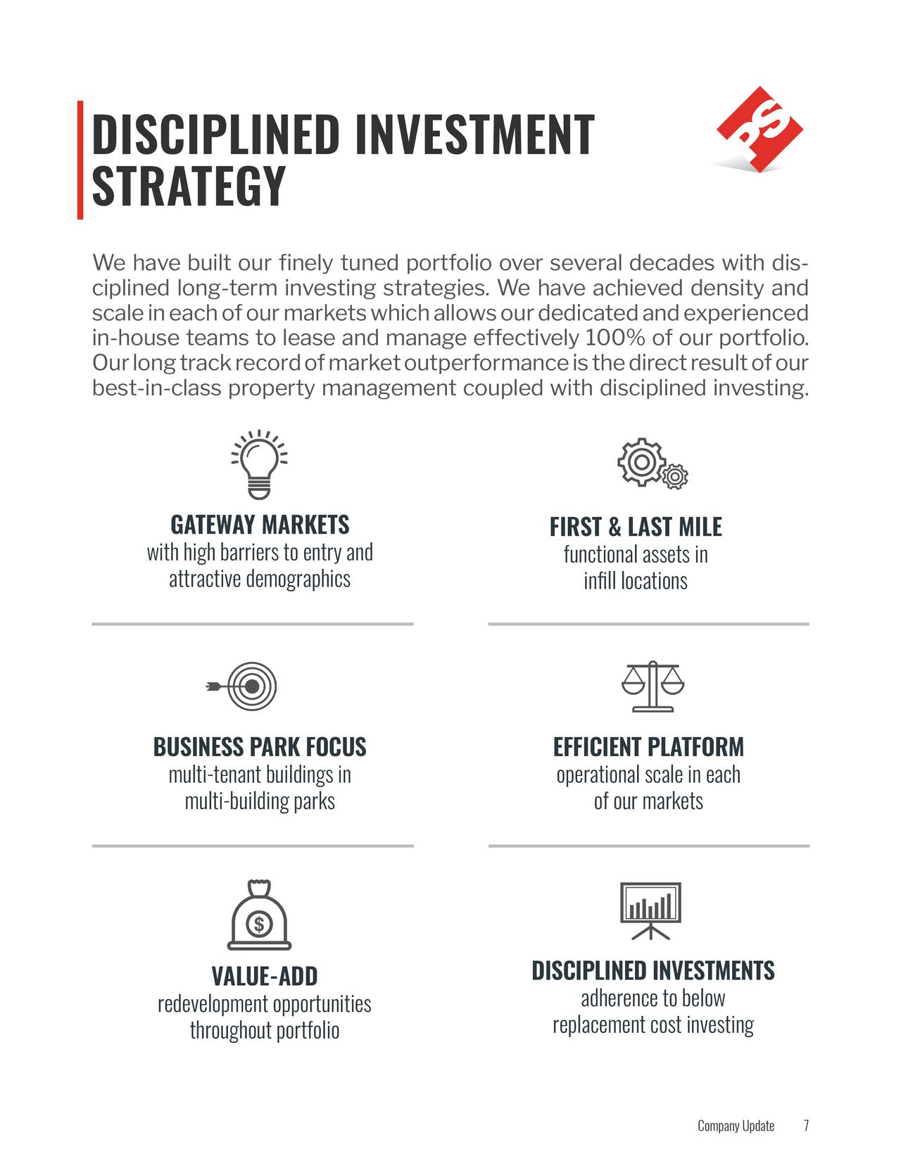 STRATEGY We have built our finely tuned portfolio over several decades with di- s ciplined long-term investing strategies. We have achieved density and scale in each of our markets which allows our dedicated and experienced in-house teams to lease and manage effectively 100% of our portfolio. Our long track record of market outperformance is the direct result of our best-in-class property management coupled with disciplined investing. GATEWAY MARKETS FIRST & LAST MILE with high barriers to entry and functional assets in attractive demographics infill locations BUSINESS PARK FOCUS EFFICIENT PLATFORM multi-tenant buildings in operational scale in each multi-building parks of our markets VALUE-ADD DISCIPLINED INVESTMENTS adherence to below redevelopment opportunities replacement cost investing throughout portfolio Company Upd7te