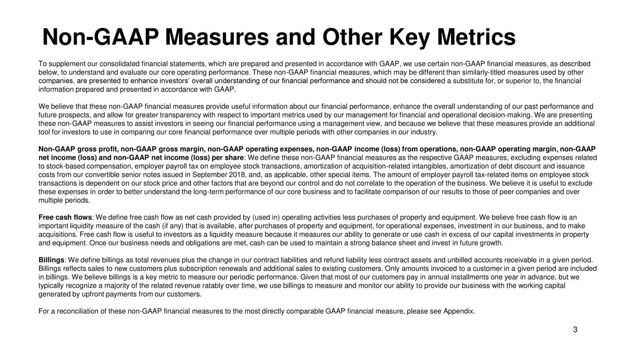 To supplement our consolidated financial statements, which are prepared and presented in accordance with GAAP, we use certain non-GAAP financial measures, as described below, to understand and evaluate our core operating performance. These non-GAAP financial measures, which may be different than similarly-titled measures used by other companies, are presented to enhance investors' overall understanding of our financial performance and should not be considered a substitute for, or superior to, the financial information prepared and presented in accordance with GAAP. We believe that these non-GAAP financial measures provide useful information about our financial performance, enhance the overall understanding of our past performance and future prospects, and allow for greater transparency with respect to important metrics used by our management for financial and operational decision-making. We are presenting these non-GAAP measures to assist investors in seeing our financial performance using a management view, and because we believe that these measures provide an additional tool for investors to use in comparing our core financial performance over multiple periods with other companies in our industry. Non-GAAP gross profit, non-GAAP gross margin, non-GAAP operating expenses, non-GAAP income (loss) from operations, non-GAAP operating margin, non-GAAP net income (loss) and non-GAAP net income (loss) per share: We define these non-GAAP financial measures as the respective GAAP measures, excluding expenses related to stock-based compensation, employer payroll tax on employee stock transactions, amortization of acquisition-related intangibles, amortization of debt discount and issuance costs from our convertible senior notes issued in September 2018, and, as applicable, other special items. The amount of employer payroll tax-related items on employee stock transactions is dependent on our stock price and other factors that are beyond our control and do not correlate to the