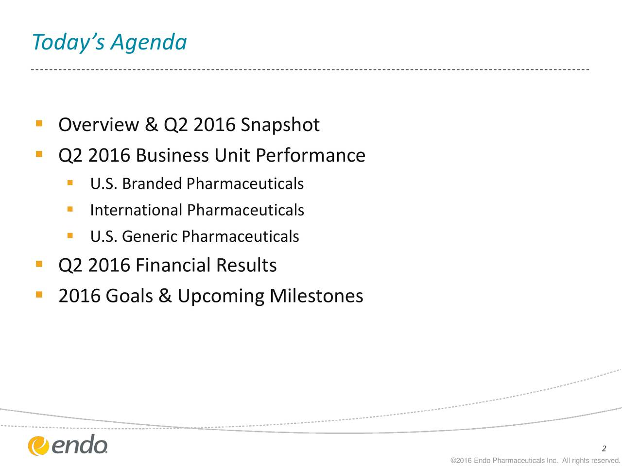 Overview & Q2 2016 Snapshot Q2 2016 Business Unit Performance U.S. Branded Pharmaceuticals International Pharmaceuticals U.S. Generic Pharmaceuticals Q2 2016 Financial Results 2016 Goals & Upcoming Milestones 2