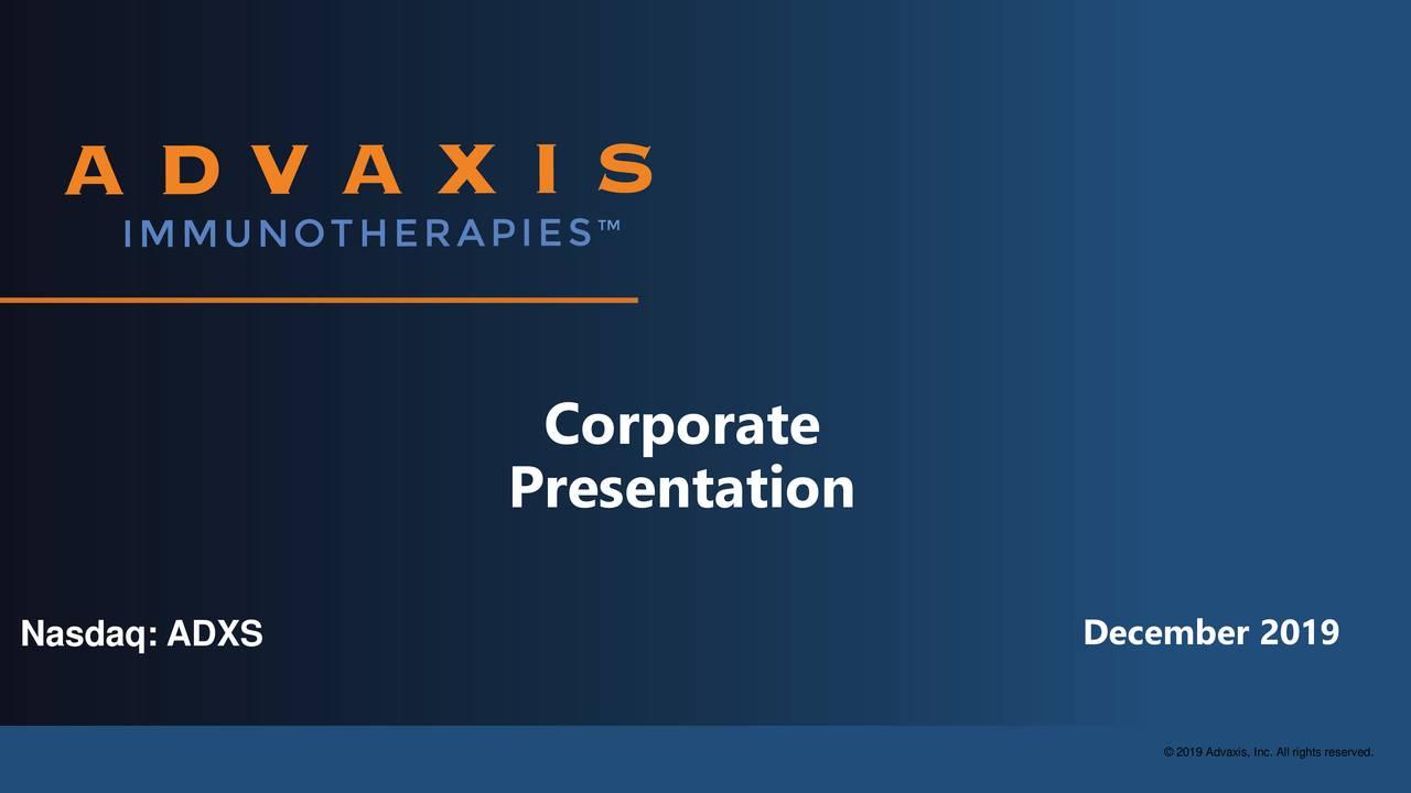 Advaxis (ADXS) Presents At LD Micro Main Event - Slideshow - Advaxis, Inc. (NASDAQ:ADXS) | Seeking Alpha