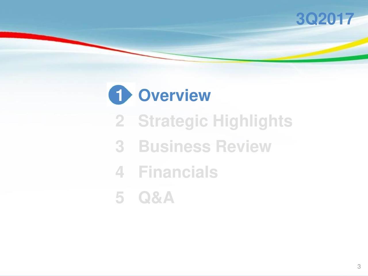 1 Overview 2 Strategic Highlights 3 Business Review 4 Financials 5 Q&A